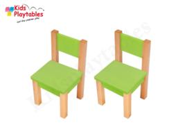 Set Kinderstoeltje 2x hout kleur groen | zithoogte 28 cm | kinderzetel | Houten stoeltje voor kinderen | stoel kind | Peuterstoeltje