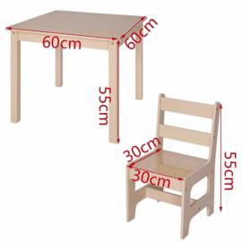 Vierkante Kindertafel en stoeltjes van hout - 1 tafel en 2 stoelen voor kinderen - Greywash / bruin - Kleurtafel / speeltafel / knutseltafel / tekentafel / zitgroep set / kinder speeltafel - kinderzetel - stoel kind