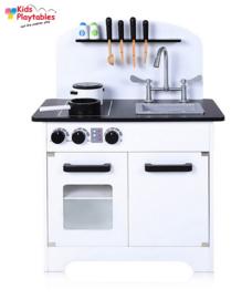 Houten Kinderkeuken Isa in de kleur wit - Speelkeuken - Grote houten Keukenset - Kinder Speelgoed Keuken - Compleet -kinderkeukentje - kinderkeuken met accessoires set