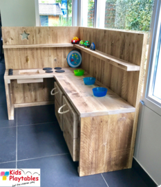 Kinderkeuken Speelgoed keuken | Steigerhout kinderkeuken hoekopstelling