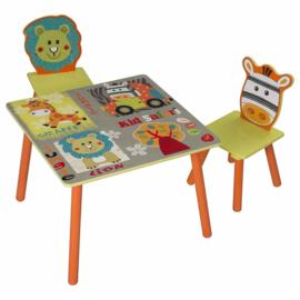 Kindertafel set met 2 houten stoeltjes Jungle motief
