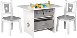 Kindertafel en stoeltjes van hout - 1 tafel en 2 stoelen voor kinderen - met speelgoedmanden - Kleurtafel / speeltafel / knutseltafel / tekentafel / zitgroep set / kinder speeltafel - kinderzetel - stoel kind