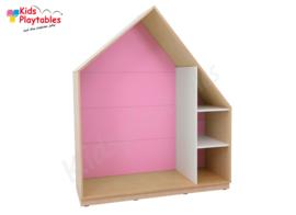 Kastenwand speelhuis met terugtrekruimte roze