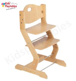 Hoge houten kinderstoel meegroeistoel TiSsi Blank gelakt | Eetstoel baby | Horecastoel | Kinderzetel baby