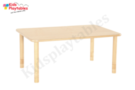 Rechthoekige  tafel kinderopvang met HPL blad en in hoogte verstelbare houten poten 120 x 80 cm