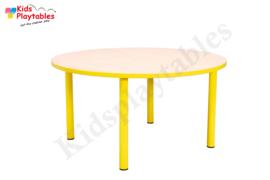Ronde kindertafel met metalen poten voor de kinderopvang, in div hoogtes en kleuren