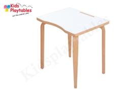 Rechthoekige tafel 60 x 45 cm wit met houten poten en beuken HPL tafelblad