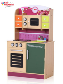 Houten Kinderkeuken Tamara kleur roze - Speelkeuken - Grote houten Keukenset - Kinder Speelgoed Keuken - Compleet -kinderkeukentje
