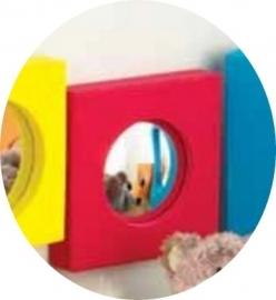 Bolronde Spiegel voor snoezelruimte Vierkant Rood