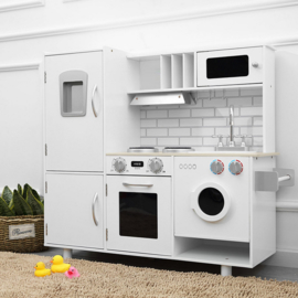 Houten Kinderkeuken wit Romy - Speelkeuken - Grote houten Keukenset - Kinder Speelgoed Keuken - Compleet -kinderkeukentje - kinderkeuken met accessoires set
