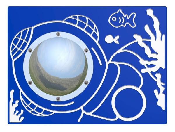 Wandspel voor buiten Duikboot met spiegel