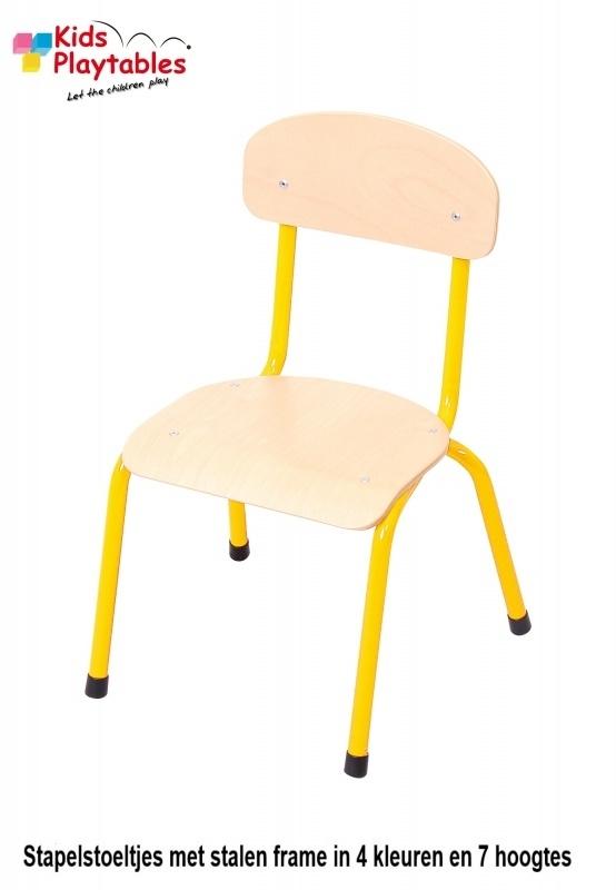 Gele Stapelbare kinder-stoel met stalen frame