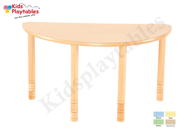 Halfronde tafel kinderopvang met HPL blad 120 x 60 cm met in hoogte verstelbare houten poten
