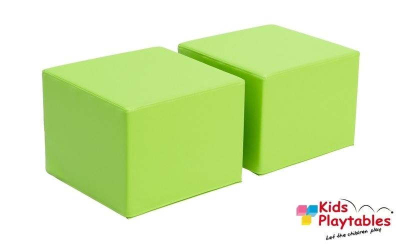 Kinderpoefjes Lederlook Groen set van 2 stuks