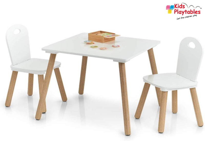 vierkante Kindertafel en stoeltjes van hout - 1 tafel en 2 stoelen voor kinderen - kleur wit - Kleurtafel / speeltafel / knutseltafel / tekentafel / zitgroep set / kinder speeltafel - kinderzetel - stoel kind