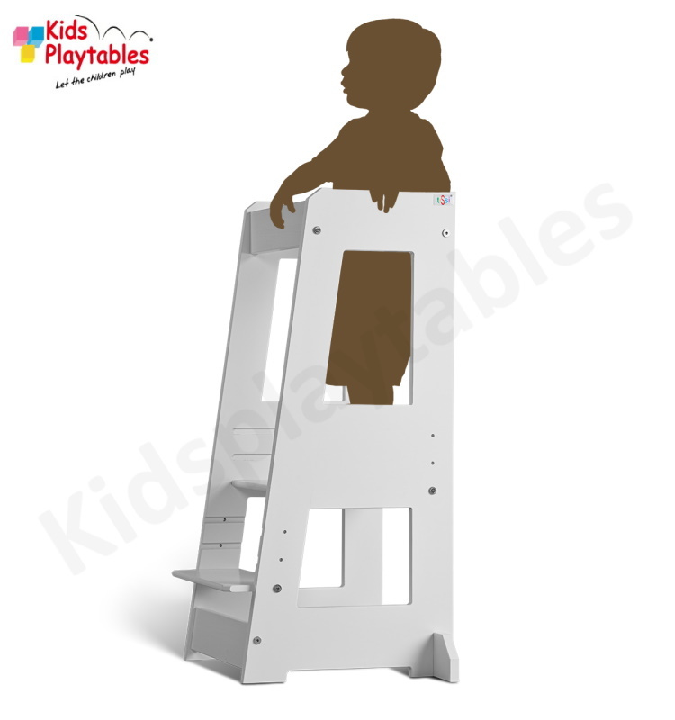 Leertoren Montessori  kleur Wit   Learning tower    Ontdekkingstoren   Opstapje hout   Keukenhulp   Keukentoren