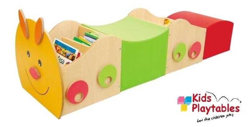 Boeken trolley Rups met Foam kinderpoefjes