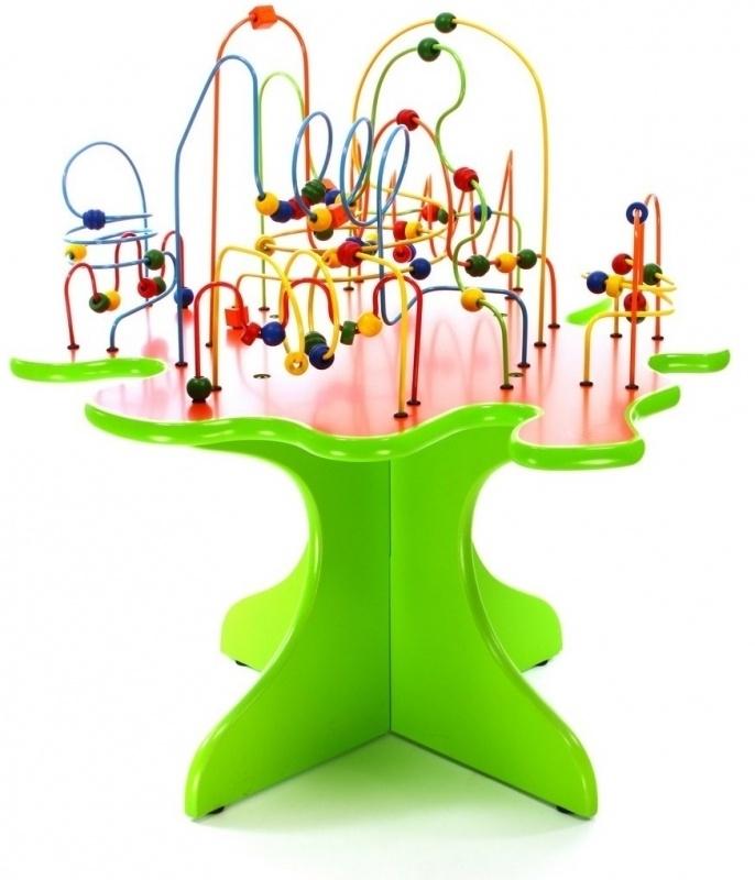 Kralentafel Beadstree met Groene voet met oranje tafelblad