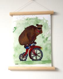 Textielposter  'Beer op fiets'