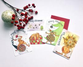 Kerstkaarten konijn  (set van 4)