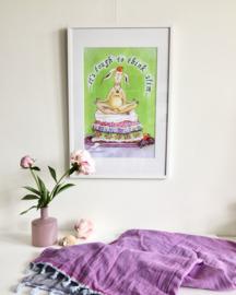 A3 poster ingelijst konijn 'It's tough to think slim...'