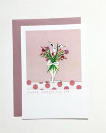 Wenskaart 'Clowny flowers'