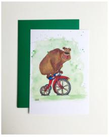A5 wenskaart 'The unBEARable lightness of cycling'