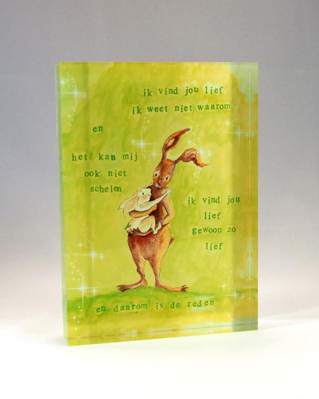 Acryl fotoblok konijn 'ik vind je lief'