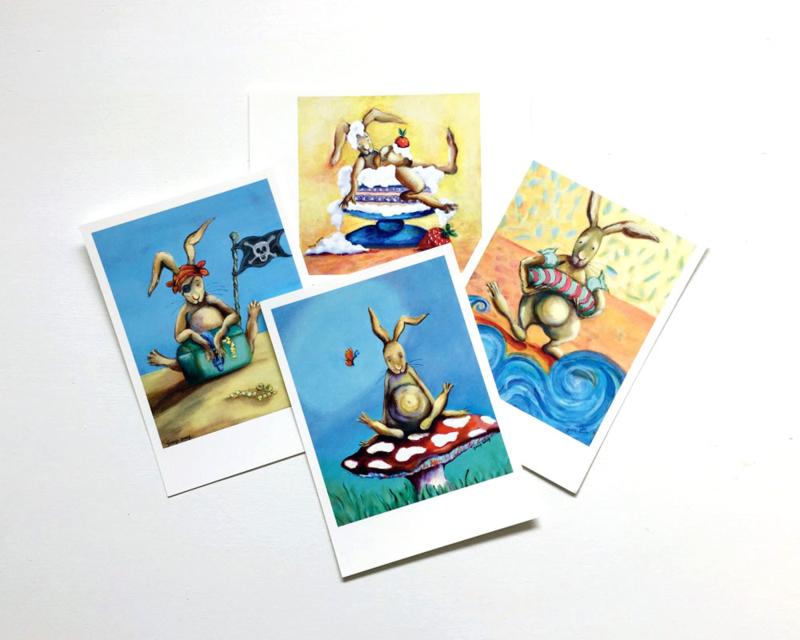 A6 ansichtkaarten konijn set van 8  (A)