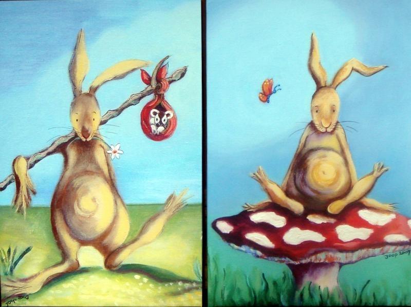 Duo konijn 'Flierefluiter' en 'Op een rode paddestoel'  70x100 cm