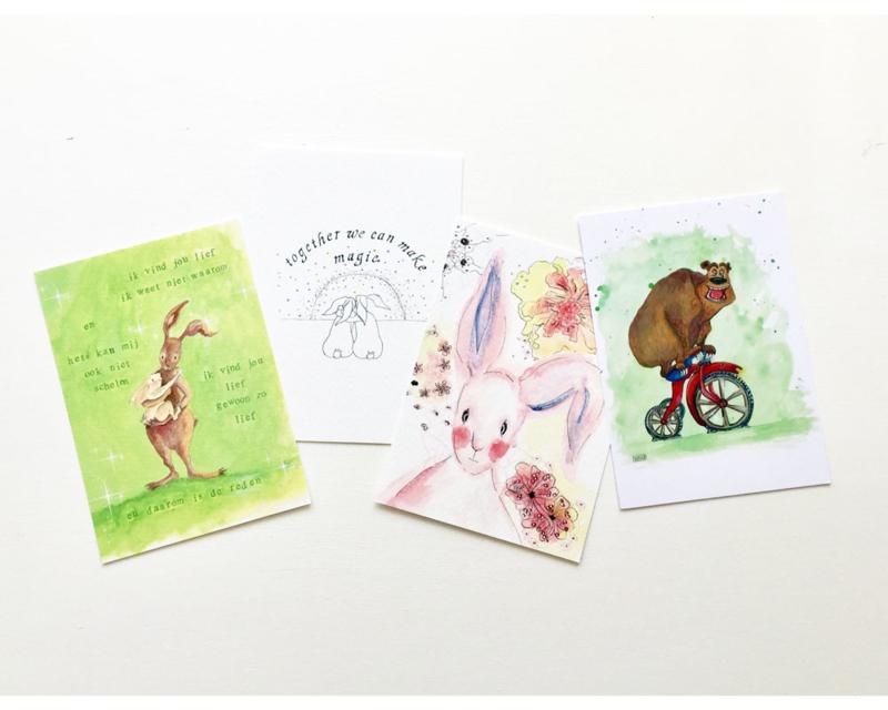 A6 ansichtkaarten konijn / beer (set van 4)
