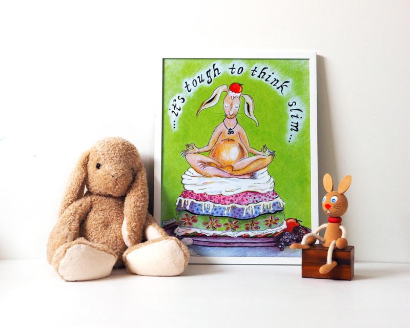 A3 poster 'Yoga konijn' (ingelijst)