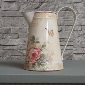 Brocante waterkan of vaas met print van rozen en vlinders