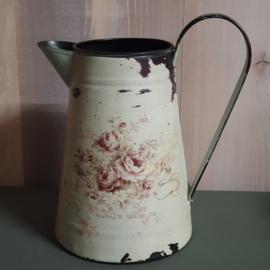 Brocante waterkan of vaas met print met bloemen