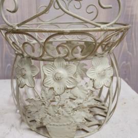 Brocante mand bloem van metaal met hengsel (klein)