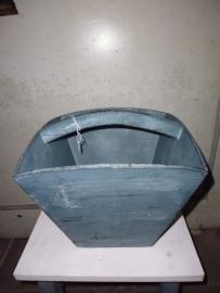 Plukbak / bak / mand voor fruit met handvat in brocant blauw