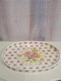 Ovaal dienblad met rozenprint