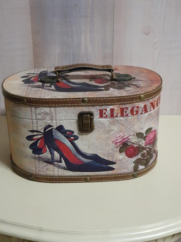 Brocante opbergdoos of koffer met print van schoenen en bloemen