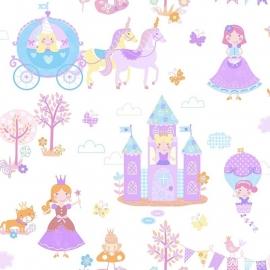 Prinsessen behang paars roze  144