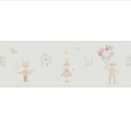 KonijntjesbehangRAND in roze beige grijs met ballon