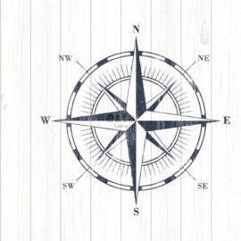Kompas behang  blauw wit grijs 138975