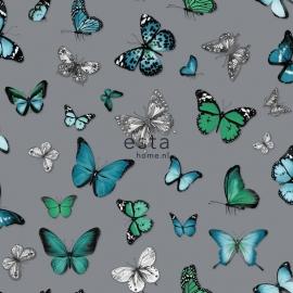 Esta Vlinders zilver aqua blauw petrol  138510