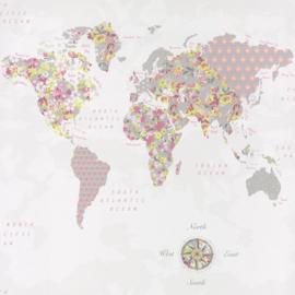 Wereldkaartbehang roze grijs groen 4677