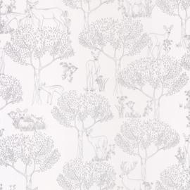 Bambi in het bos behang in creme wit zilver 9093