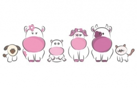 13064 Cow Family Dutch DigiWalls Olly Fotobehang