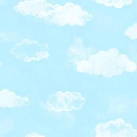 Wolken behang blauw 113