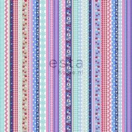 008. Streepjesbehang in roze/blauw/rood/teale