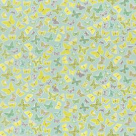 Vlinder STOF mint grijs groen 7007