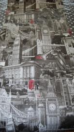 Londen Behang zwart/rood