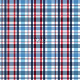 Ruit behang blauw rood wit  138819